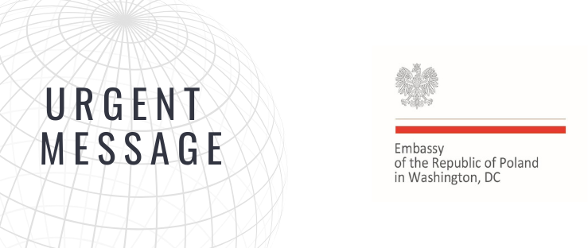 Logo of the official announcement of the Embassy of Poland in Washington, DC