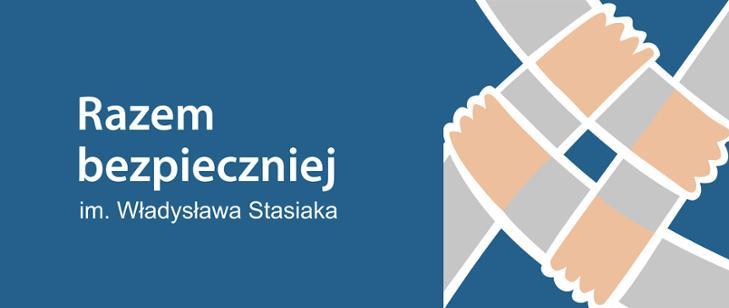 """Logo składające się z czterech trzymających się dłoni i nazwa Programu ograniczania przestępczości i aspołecznych zachowań """"Razem Bezpieczniej im. Władysława Stasiaka"""""""