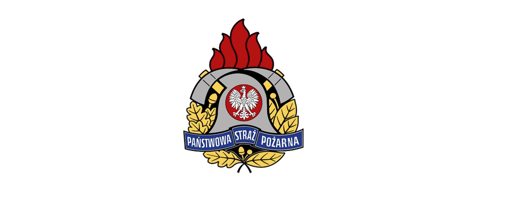 Logotyp Państwowej Straży Pożarnej na białym tle.