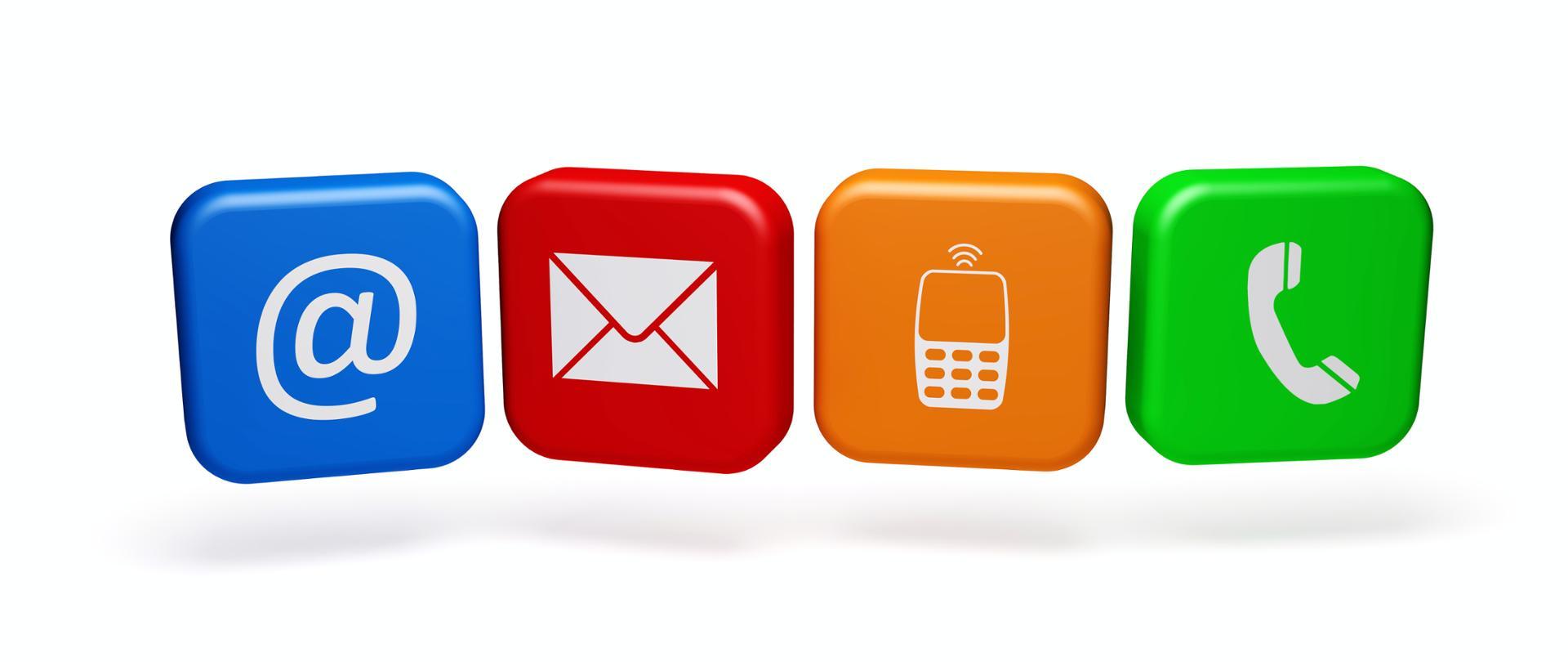Różnokolorowe kwadraty na których jest widać słuchawkę telefonu, telefon komórkowy, kopertę i małpkę (znak pisarski wykorzystywany do oznaczenia poczty elektronicznej)