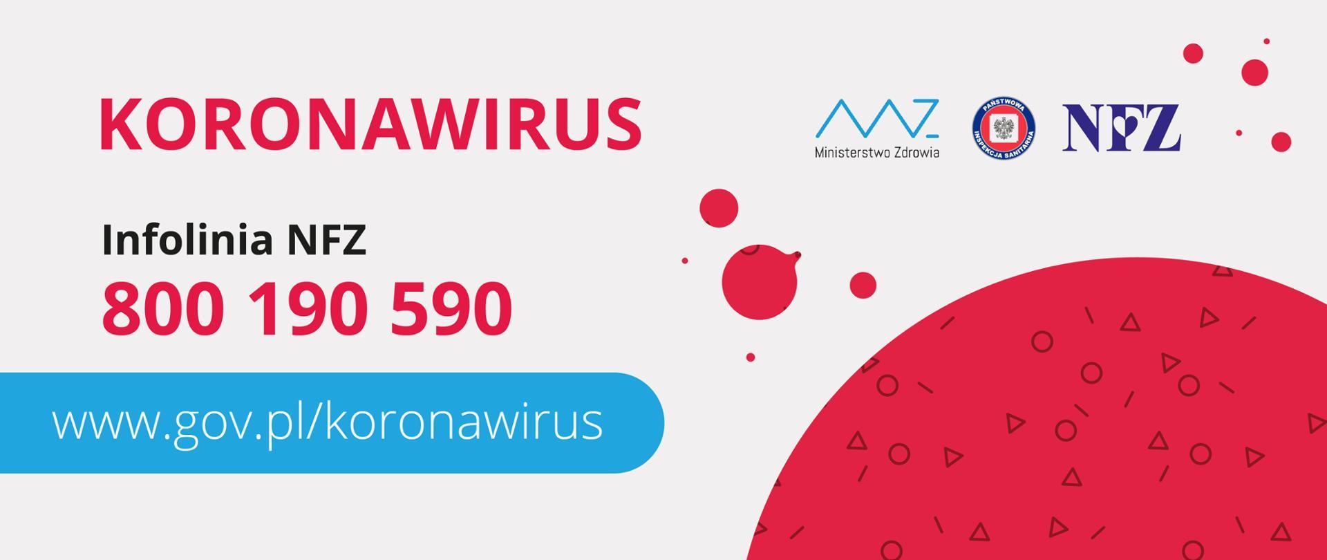 """Grafika z hasłem """"koronawirus"""" oraz numerem infolinii NFZ: 800 190 590.Pod tekstem jest adres strony dotyczącej koronawirusa: www.gov.pl/koronawirus"""