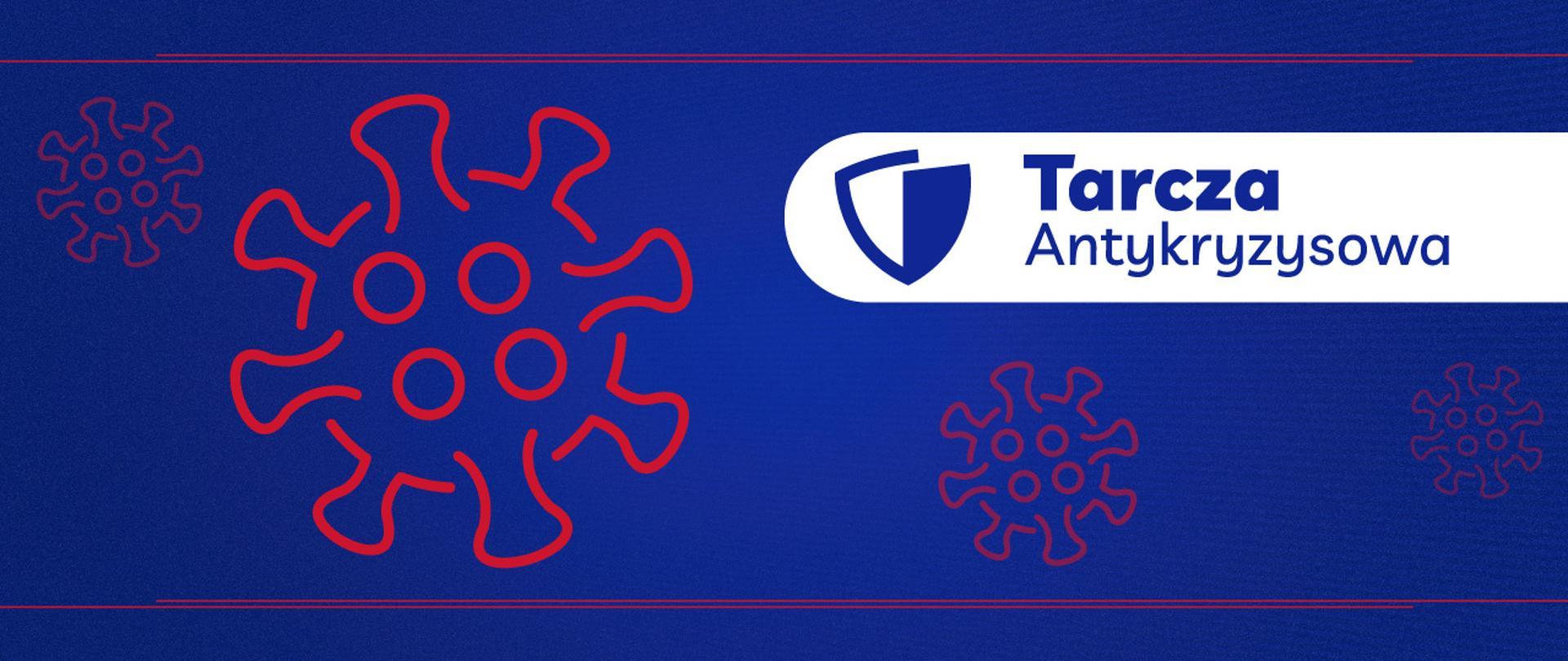 Po prawej stronie biały pasek a na nim tarcza i napis Tarcza Antykryzysowa. Trzy elementy imitujące wirusa z tym że dwa są po lewej stronie a trzeci pod napisem.