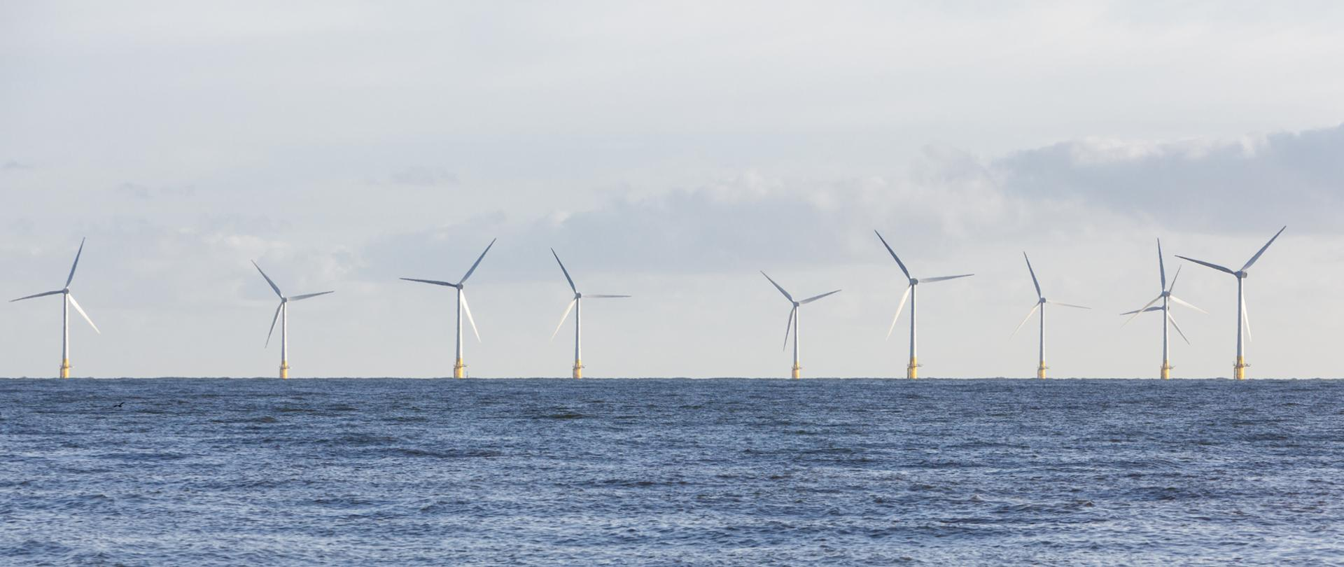 Panoramic view of wind turbines at Scroby Sands in Norfolk, UK