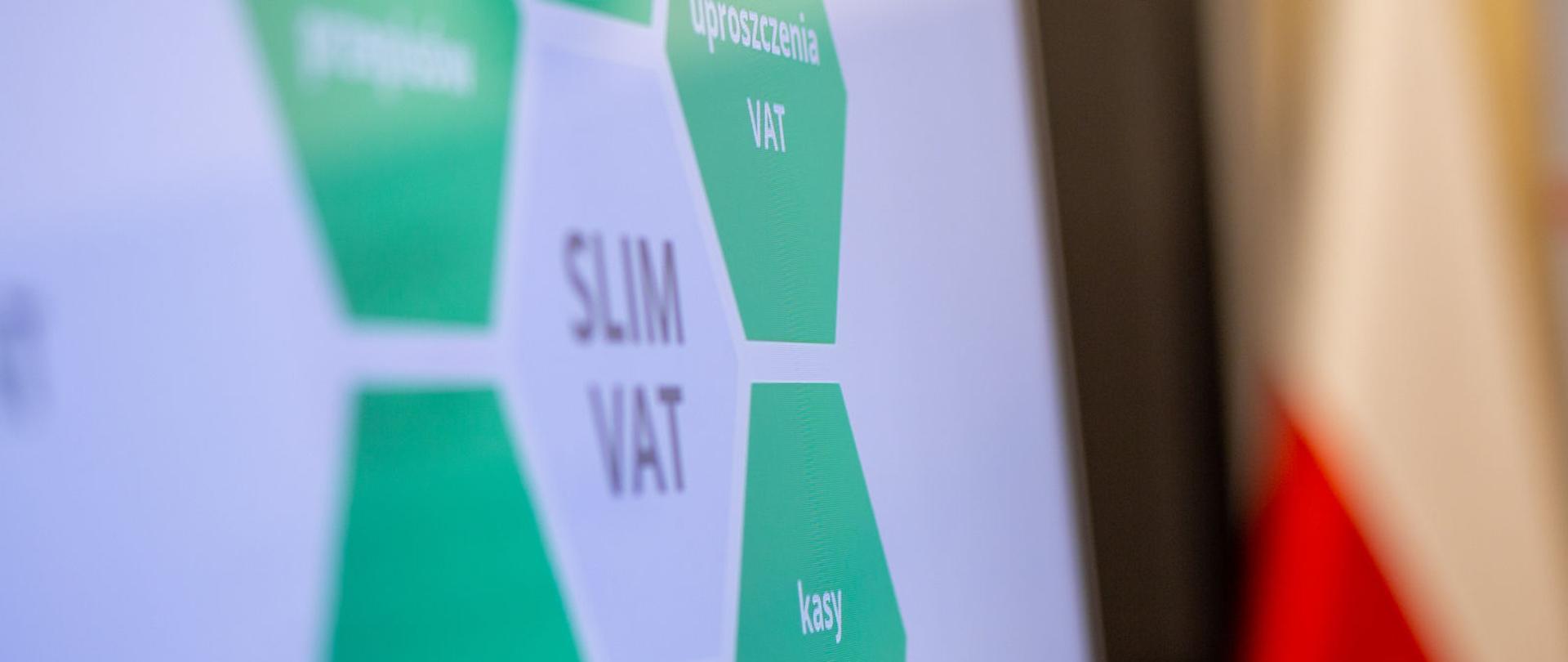 Slajd prezentacji z napisem SLIM VAT, uproszczenia VAT, kasy online.
