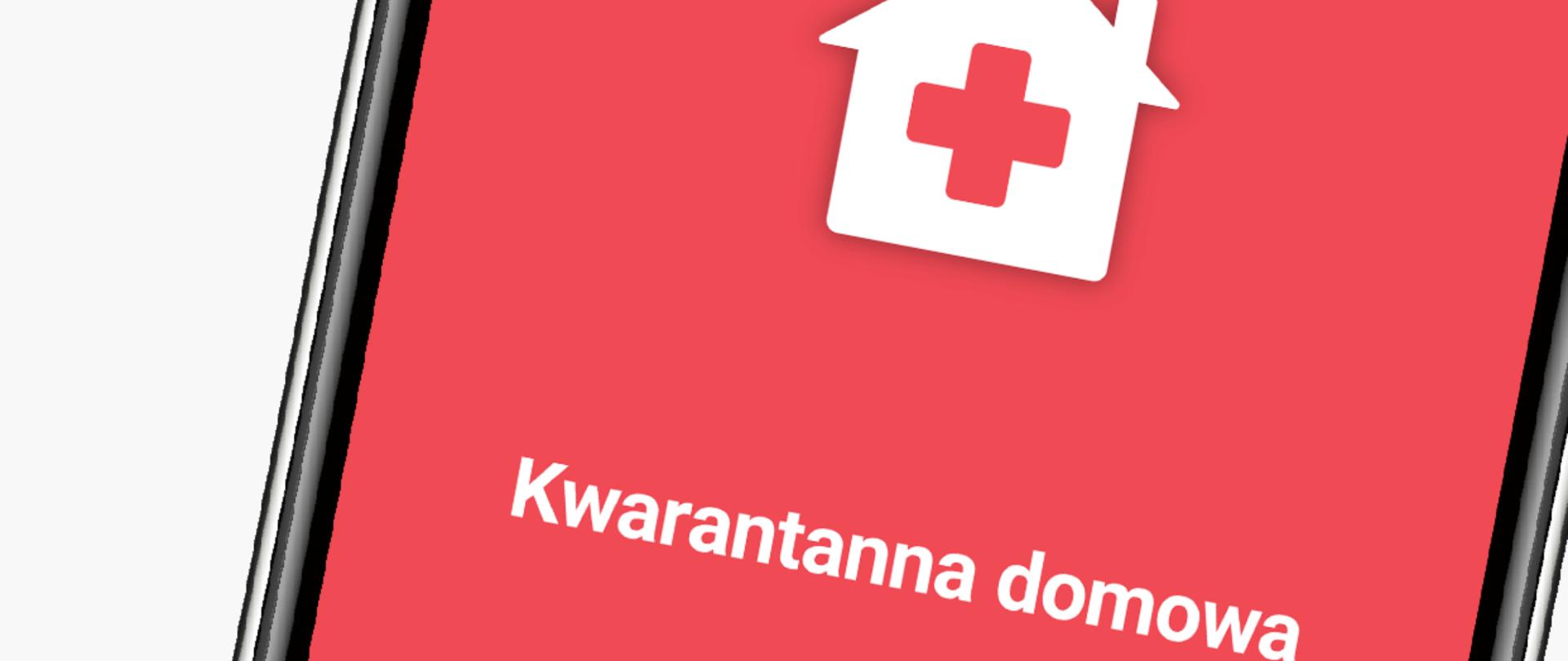 Ekran smartfona. Ikonka domku z krzyżykiem na czerwonym tle. Napis kwarantanna domowa