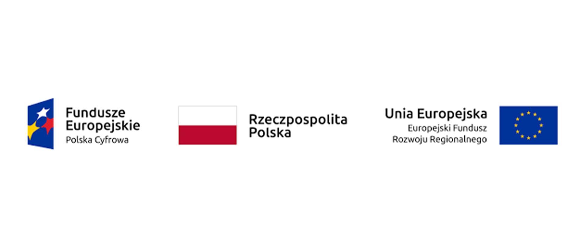Logotyp partnera projektu: Fundusze Europejskie Polska Cyfrowa, Flaga RP, Flaga UE