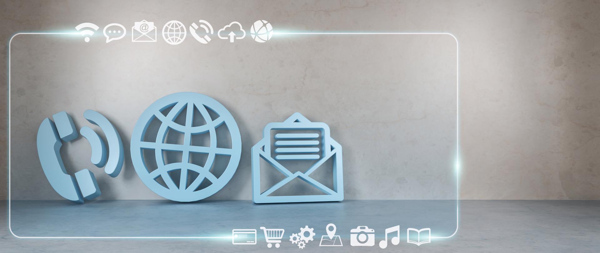 Ikony przedstawiające różne formy kontaktu elektronicznego - telefon, kula ziemska i koperta