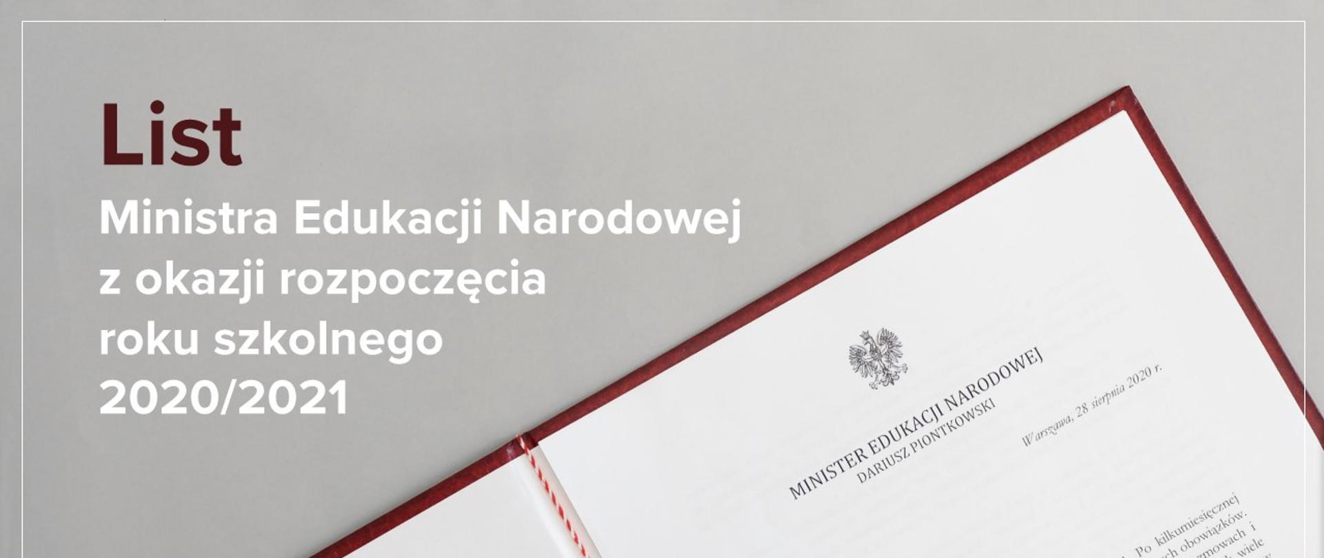 """Zdjęcie listu ministra i tekst """"List Ministra Edukacji Narodowej z okazji rozpoczęcia roku szkolnego 2020/2021"""""""