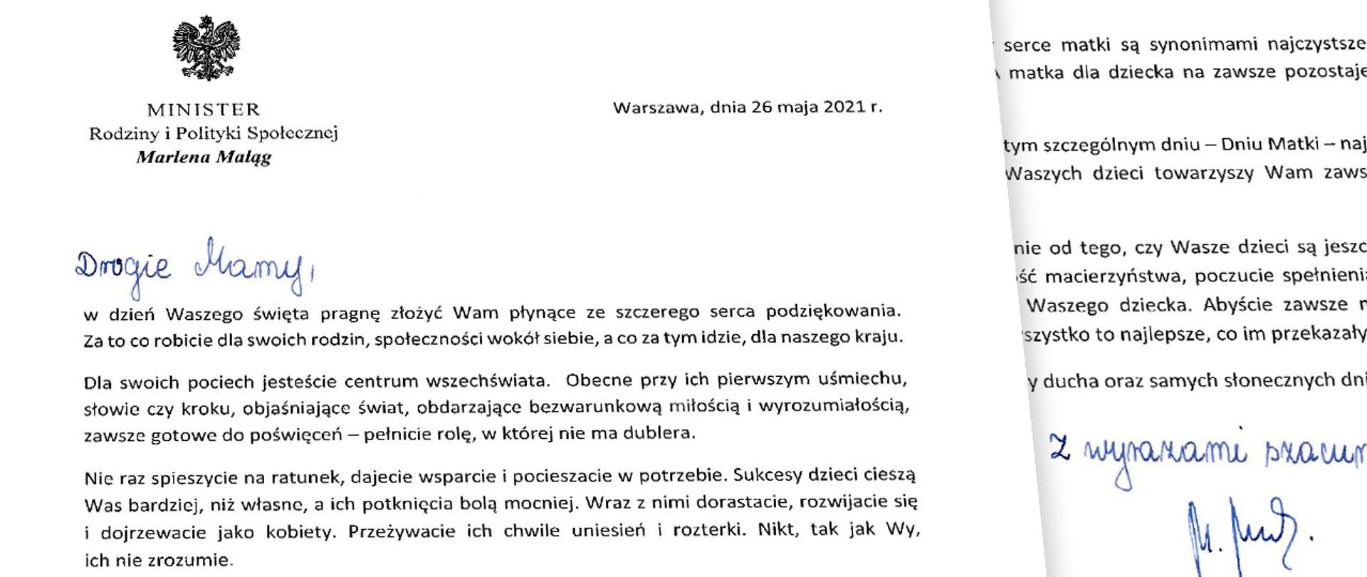 życzenia minister Marleny Maląg z okazji Dnia Matki