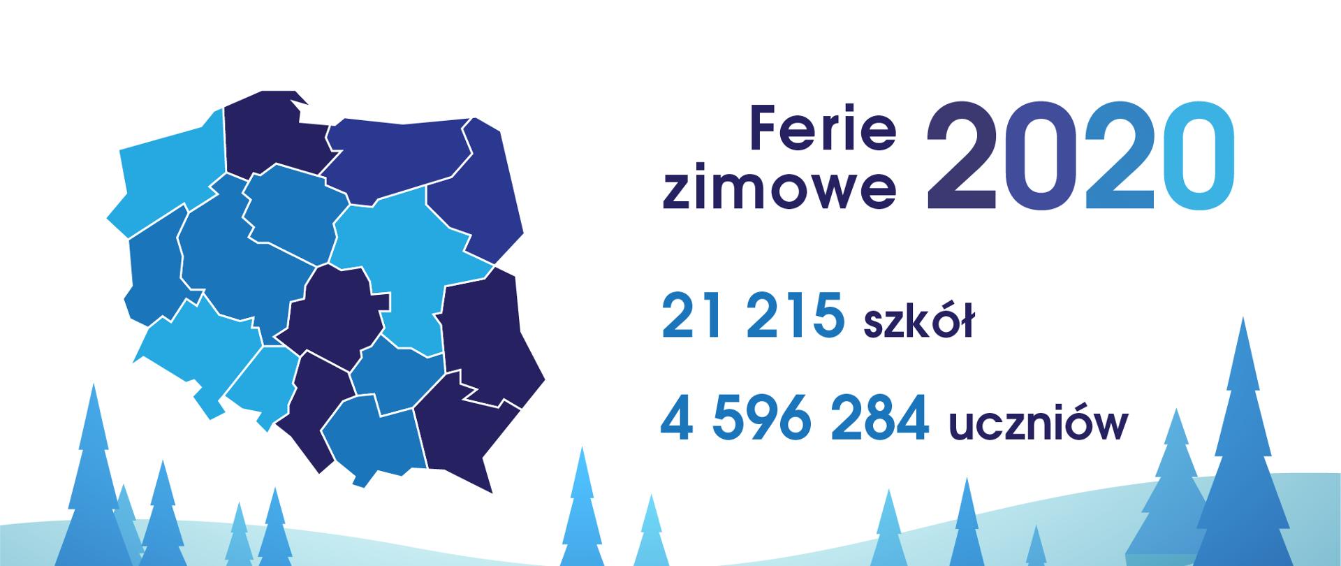 Grafika przedstawiająca mapę Polski z napisem Ferie 2020.