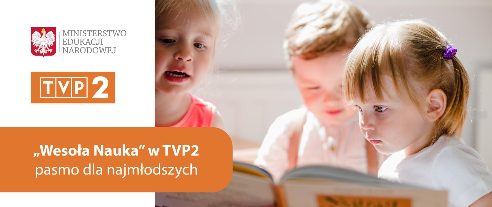 """Dzieci w wieku przedszkolnym oglądające książkę. Po lewej stronie logo Ministerstwa Edukacji Narodowej i TVP 2 na białym tle. Pod logo napis na pomarańczowym tle: """"Wesoła Nauka"""" w TVP2 – pasmo dla najmłodszych."""