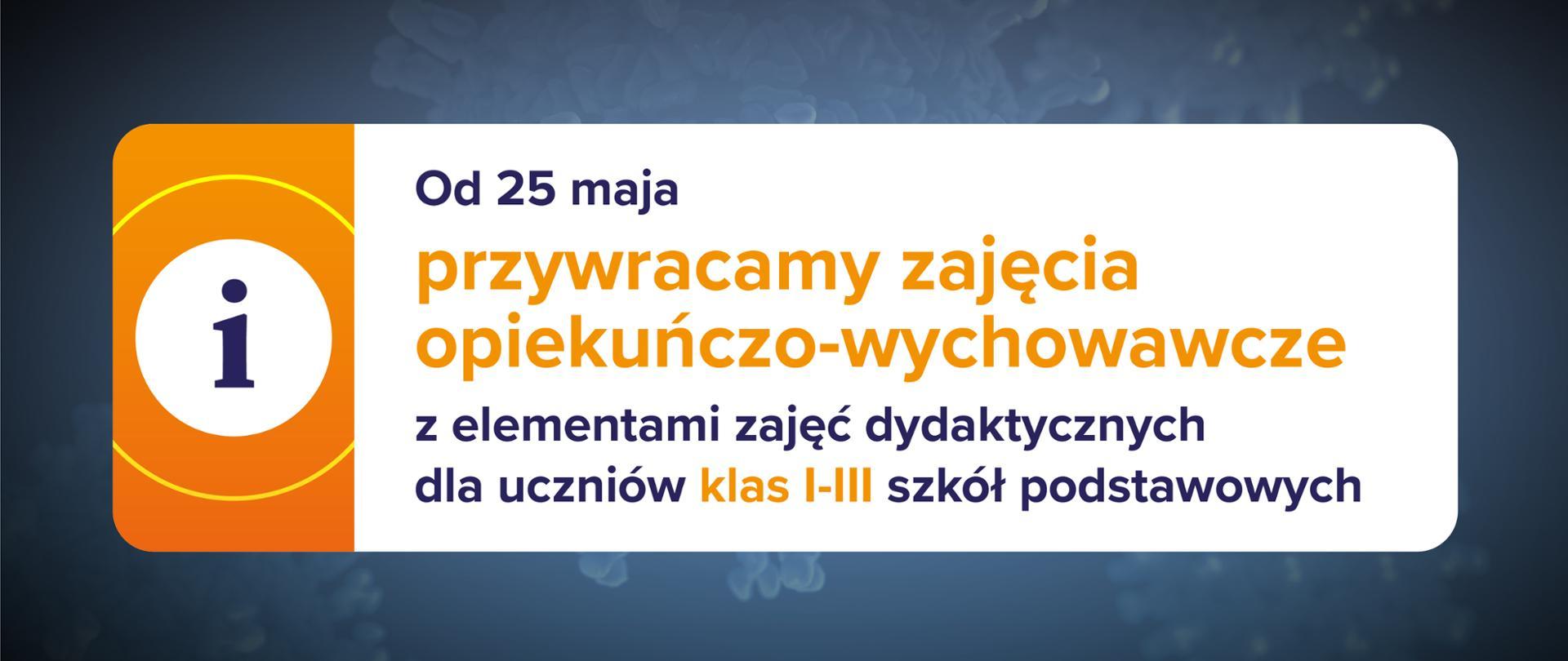 Ciemnoniebieskie tło, ikona informacyjna po lewej stronie na pomarańczowym tle oraz tekst po prawej stronie na białym tle: