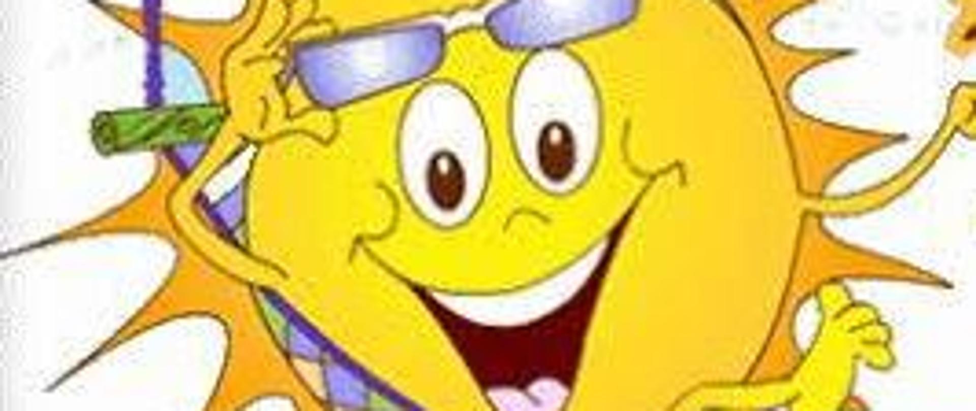 Grafika przedstawiająca żółte uśmiechnięte słoneczko na hamaku z okularami słonecznymi podniesionymi nad czołem.