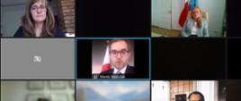 Wiceminister rozwoju i technologii Marek Niedużak podczas konferencji online poświęconej Prostej Spółce Akcyjnej, po prawej i lewej stronie wiceministra pozostali uczestnicy konferencji.