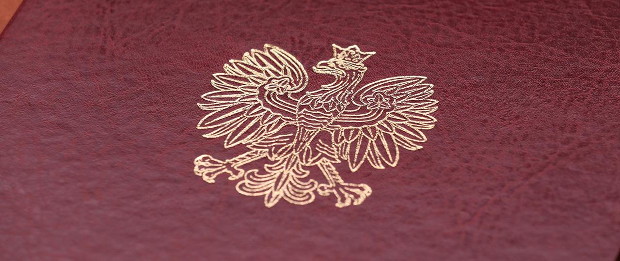 Teczka MSWiA z motywem orła z Godła RP