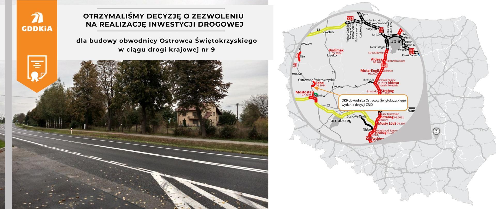 Infografika dot. wydania decyzji ZRID dla obw. Ostrowca Świętokrzyskiego