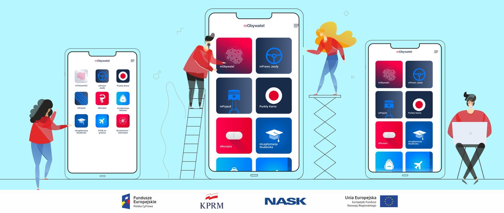 Grafika wektorowa - trzy telefony komórkowe na błękitnym tle. Na ich ekranach aplikacja mObywatel. Przy każdym ekranie jedna lub dwie postaci - pokazują ekrany, siedzą obok nich korzystając z laptopa.