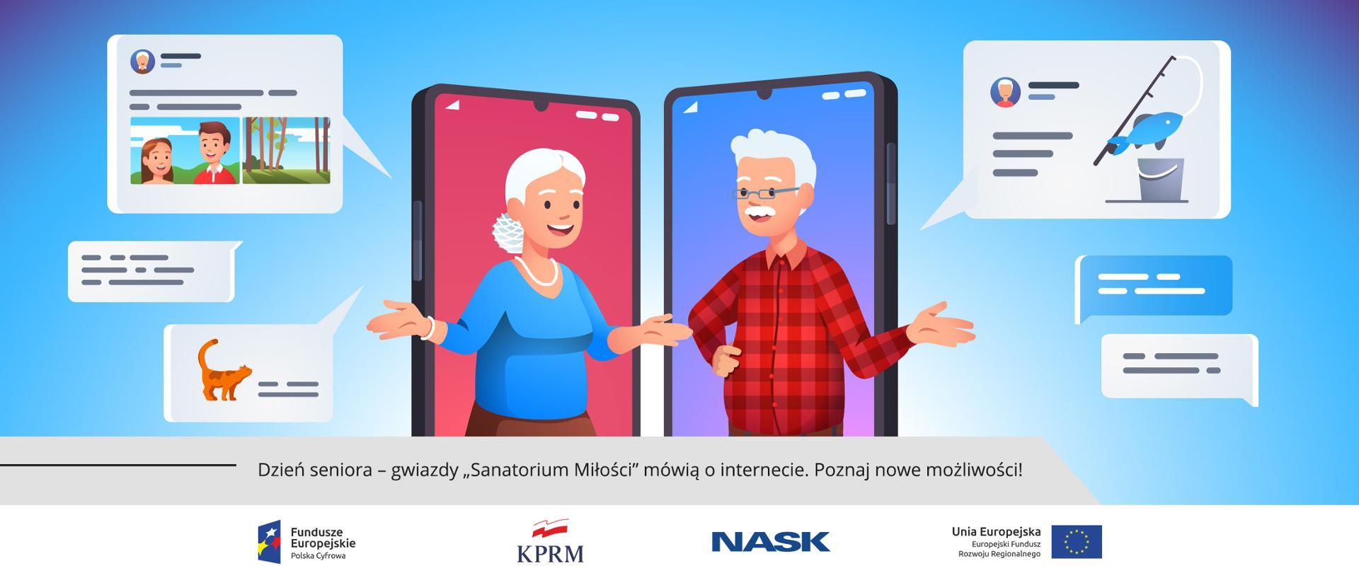 Grafika wektorowa - dwoje uśmiechniętych seniorów (kobieta i mężczyzna) na tle telefonów komórkowych, wokół nich ikony symbolizujące internetowe wiadomości i połączenia.