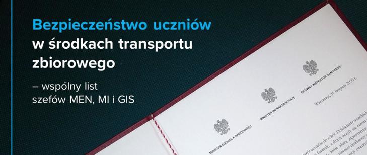 Bezpieczeństwo uczniów w środkach transportu zbiorowego – wspólny list szefów MEN, MI i GIS