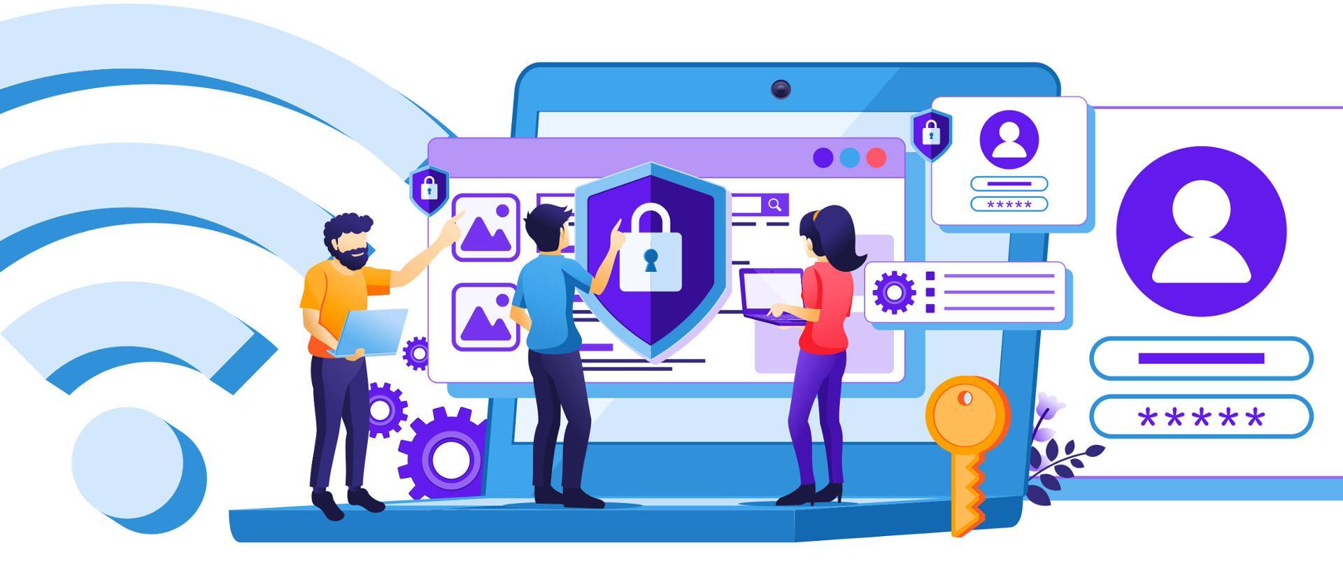 Grafika wektorowa - dwóch mężczyzn i kobieta. Jeden z nich i kobieta trzymają w rękach laptopy. Drugi mężczyzna - na środku dotyka dłonią ekranu, na którym widoczny jest symbol kłódki (bezpieczeństwa). Wokół nich inne symbole związane z bezpieczeństwem w sieci - klucz, hasła i loginy, symbole wi-fi.