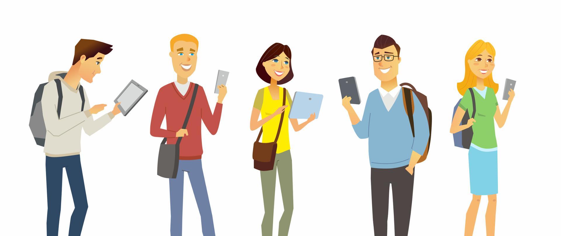 Grafika wektorowa - pięć osób (trzech mężczyzn i dwie kobiety). Każda z nich trzyma w dłoni tablet lub smartfon.