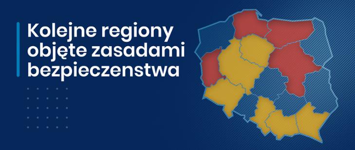 mapa z zaznaczonymi na czerwono województwami szczególnie zagrożonymi